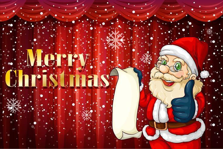 Papai Noel segurando uma lista
