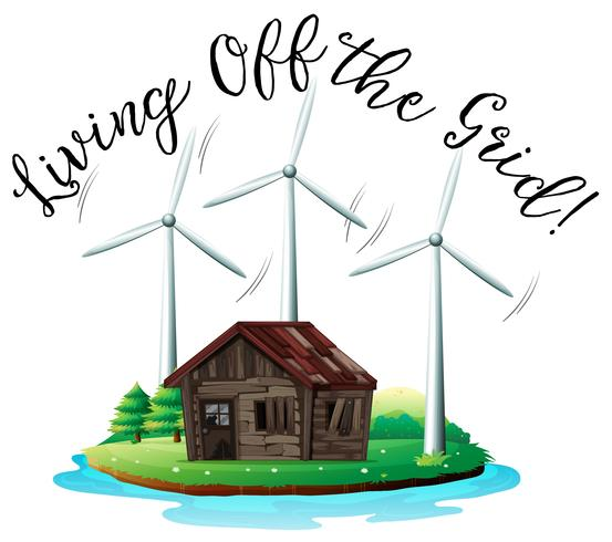 Wooden House on Island with Windmill vector