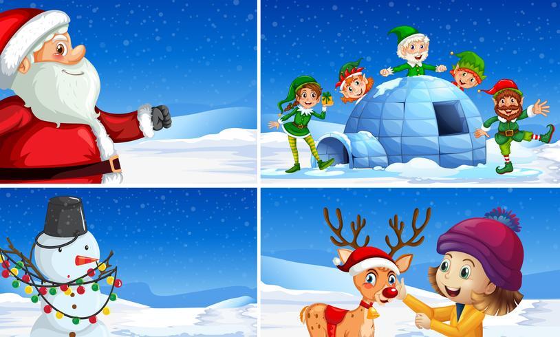 Set di scene di natale neve