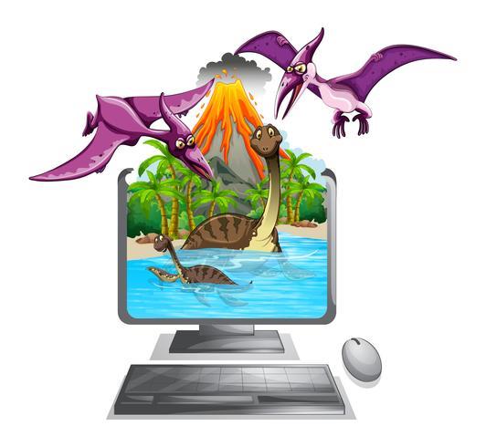Bildschirm mit Dinosauriern im See