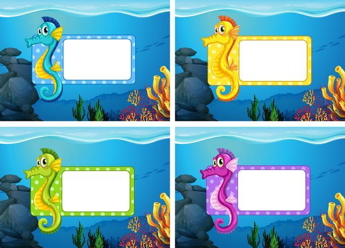 Label design with underwater theme