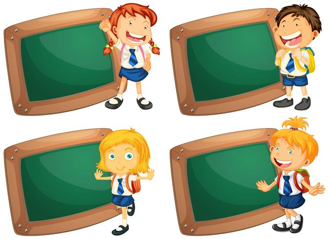 Four frames with happy children in school uniform