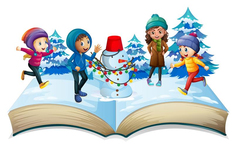 Winter season with kids and snowman - Download Free Vectors, Clipart  Graphics & Vector Art