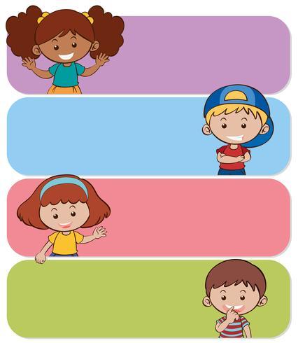 Fyra banderoller med glada barn