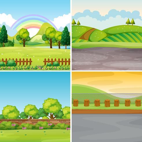 Vier scènes met veld en bergen