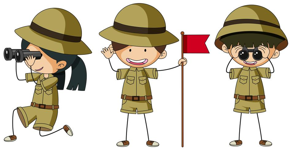 Three scouts in different actions
