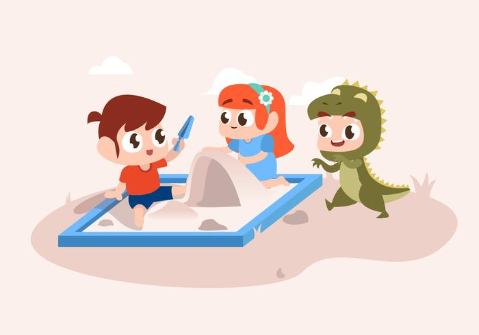 Cute Children Playing in Park Vector Flat Illustration