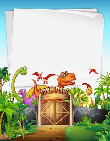 Design de fronteira com dinossauro no parque