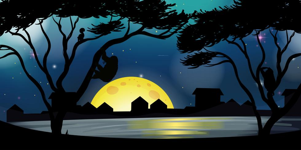 Silhouette scene with buildings and lake at night