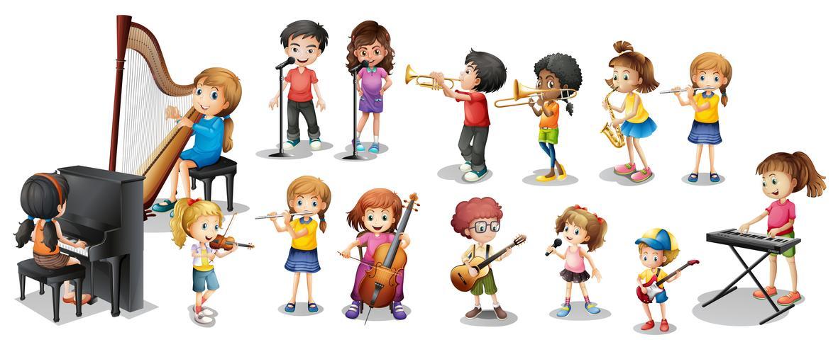 Beaucoup d'enfants jouant de différents instruments de musique vecteur