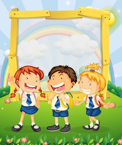 Crianças, em, uniforme escola, ficar, parque
