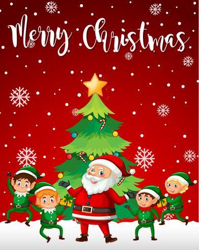 Santa en elf merry christmas sjabloon