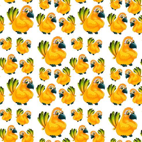 Yellow parrot seamless pattern