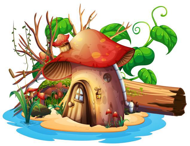 Svamphus med trädgård på ön