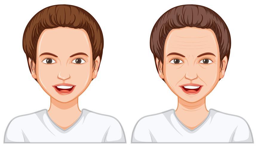 Jong en oud vrouwengezicht