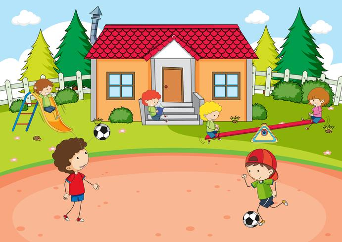 Barn som leker i huset