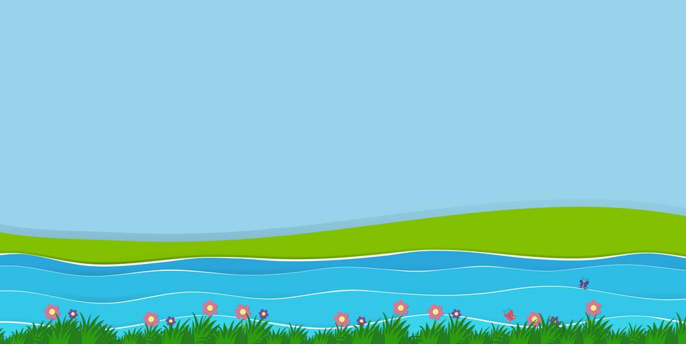 Escena de fondo con campo y rio
