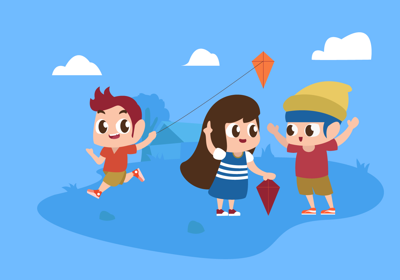 Cute Children Playing At Park Vector Flat Illustration ...