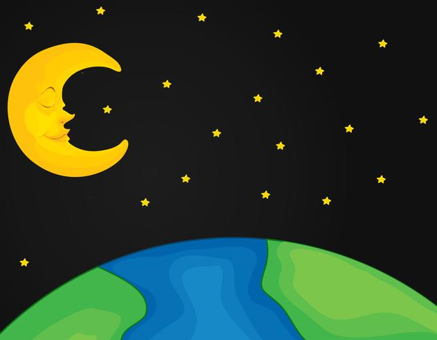 Cena com lua e estrelas à noite