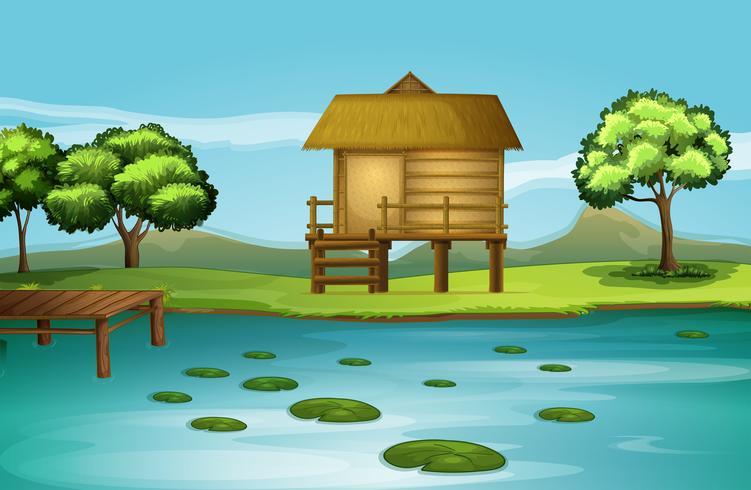 Eine Hütte am Flussufer