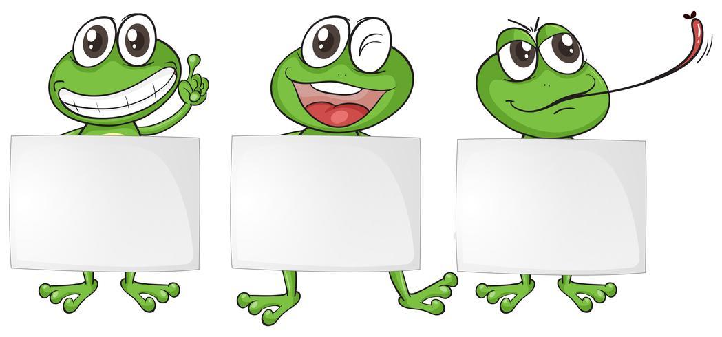 Três papéis em branco com sapos felizes
