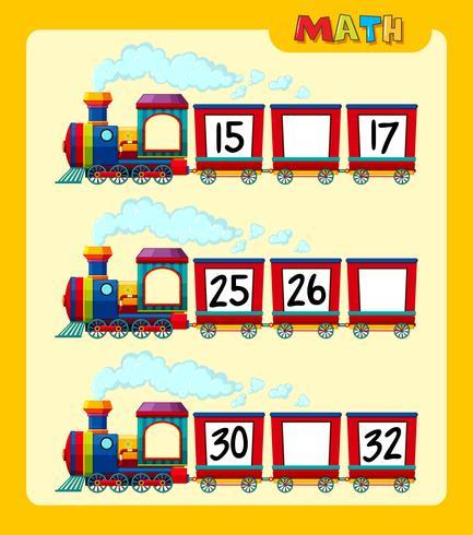 Tellen van nummers op trein-werkbladsjabloon