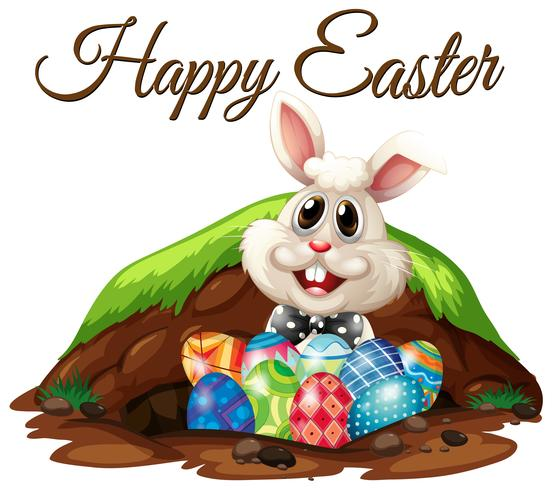 Happy Easter Rabbit and Eggs - Download Free Vectors, Clipart ...