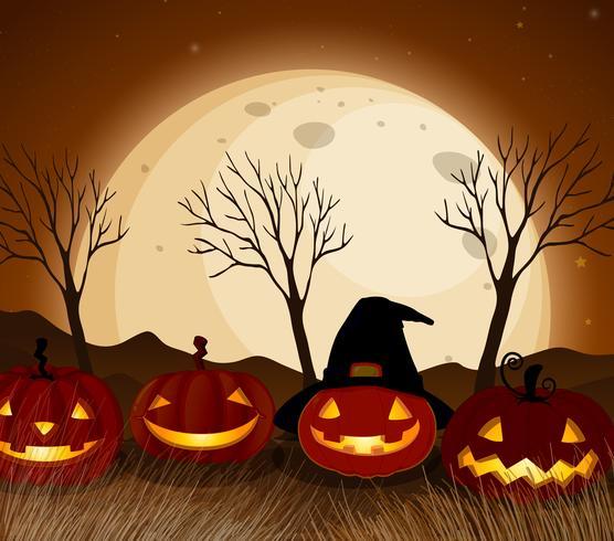 Halloween-Kürbis in der Vollmondnacht