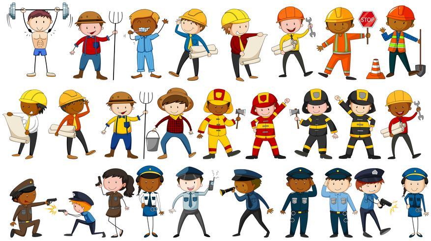 Aantal mensen in verschillende beroepen