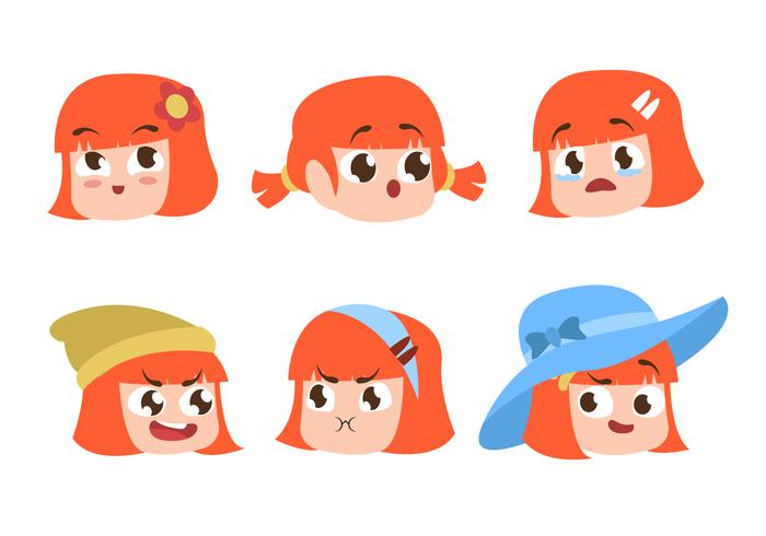 Children Girl Head Emotion Character Vector Flat Illustration