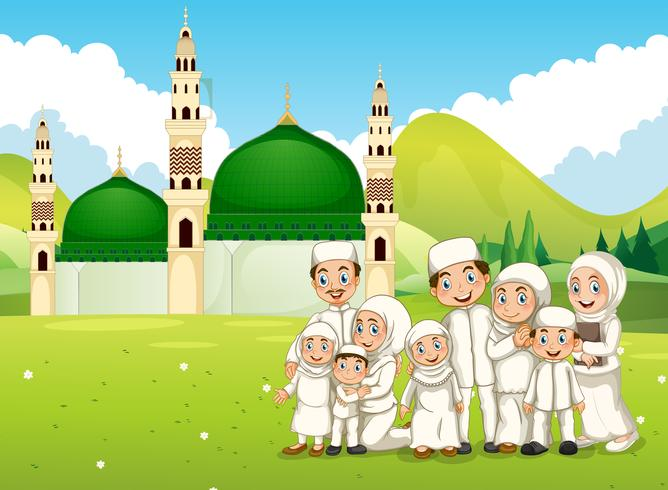 A big muslim family in front of the mosque