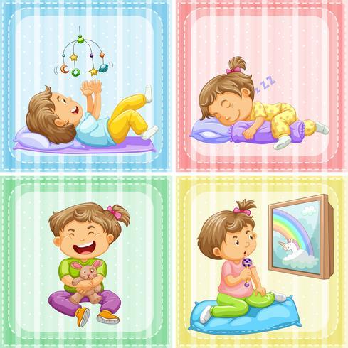 Kleinkind in vier verschiedenen Aktionen