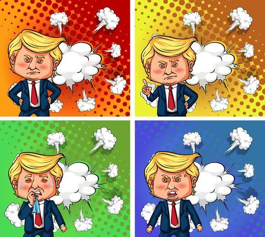 US-Präsident Trump mit vier verschiedenen Emotionen
