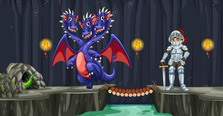 Een ridder vecht met draak