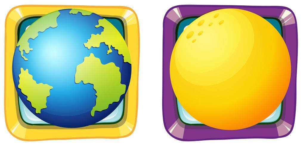 Aarde en maan op vierkante insignes