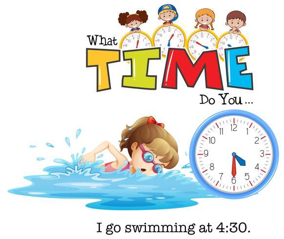 Een meisje gaat om half vier zwemmen