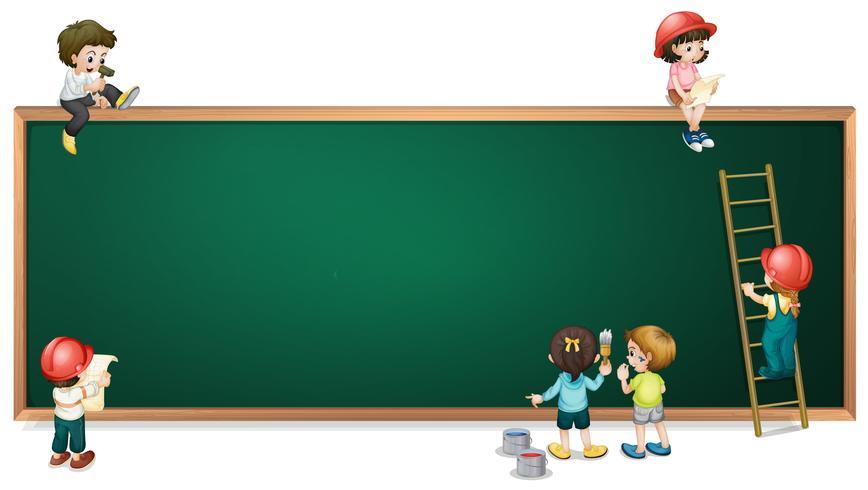 Crianças, ao redor, a, greenboard vazio