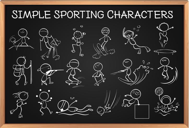Personnages sportifs simples sur tableau noir
