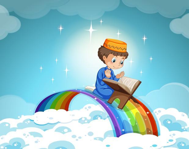 Niño musulmán rezando por el arcoiris