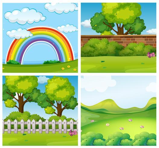Vier scènes van groene parken