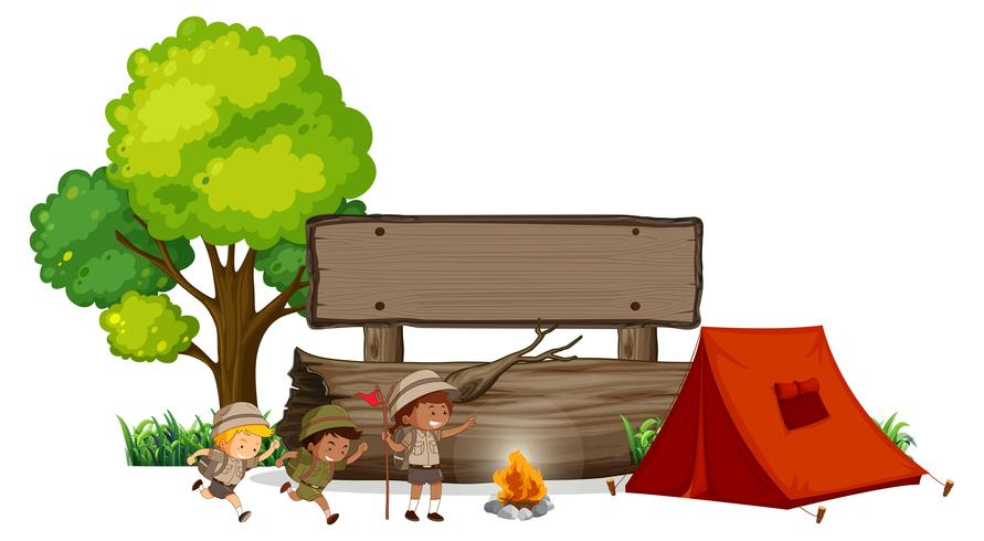 Camping children with wooden banner
