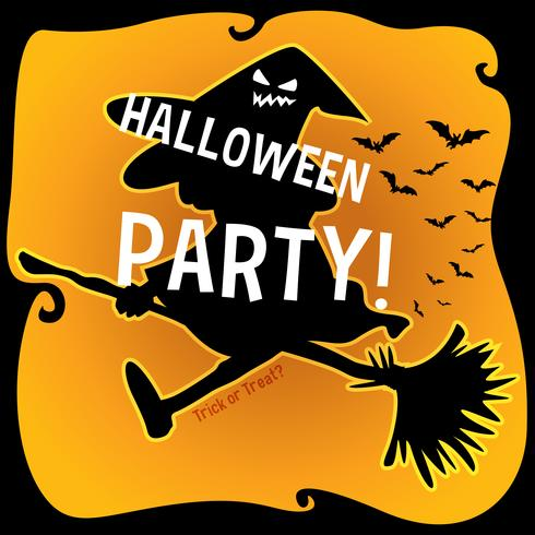 Tema de Halloween com bruxa na vassoura vetor