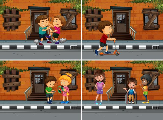 Nachbarschaftsszenen mit Menschen, die verschiedene Dinge tun