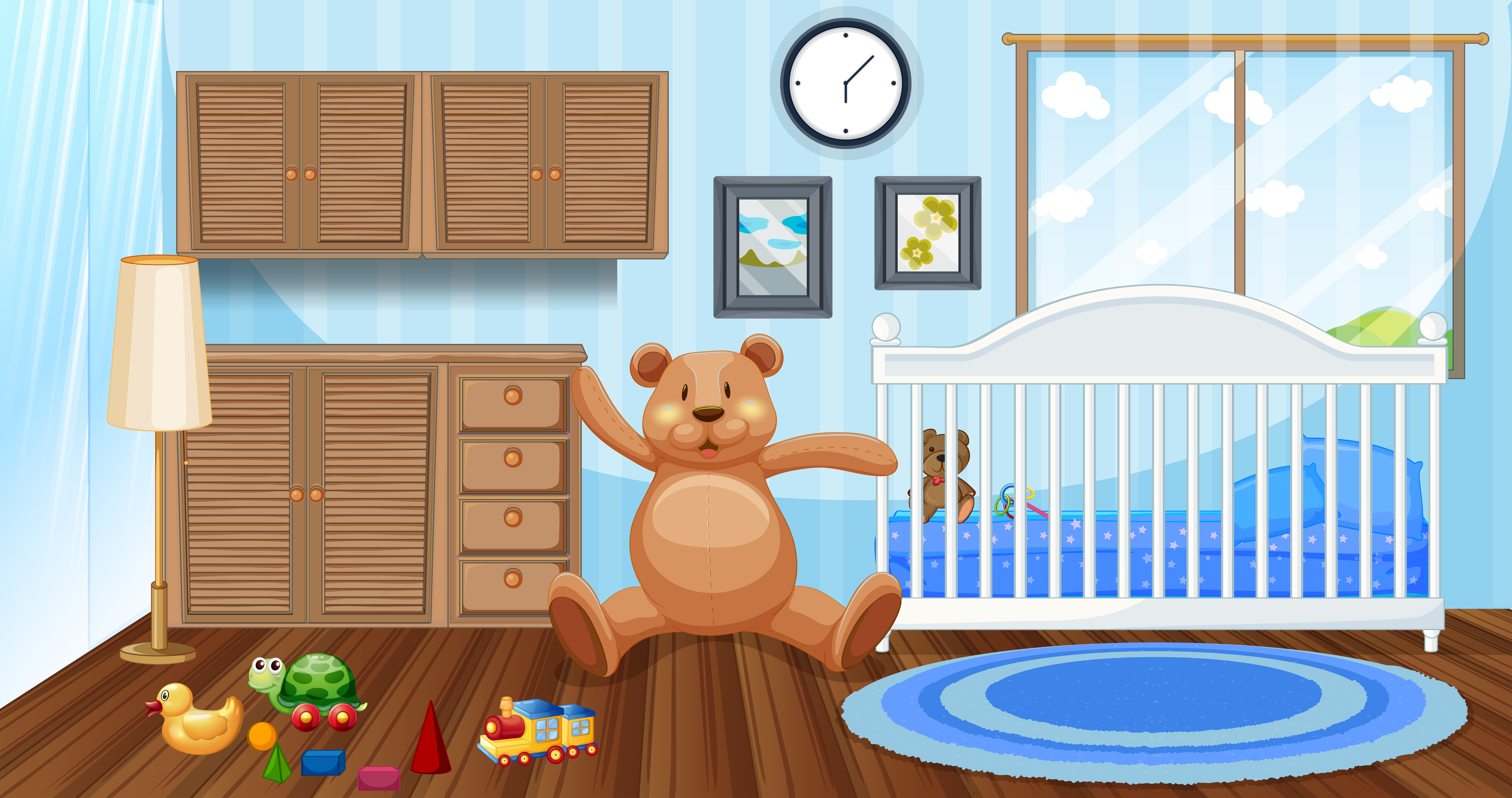 bedroom scene with white babycot and dolls  download free
