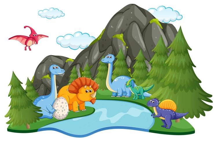 Beaucoup de dinosaures dans la nature