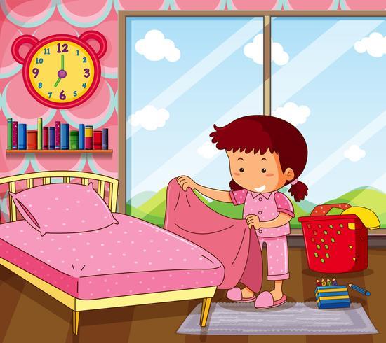 Chica haciendo cama en dormitorio rosa vector