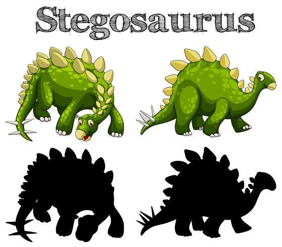 Two stegosaurus on white background vector