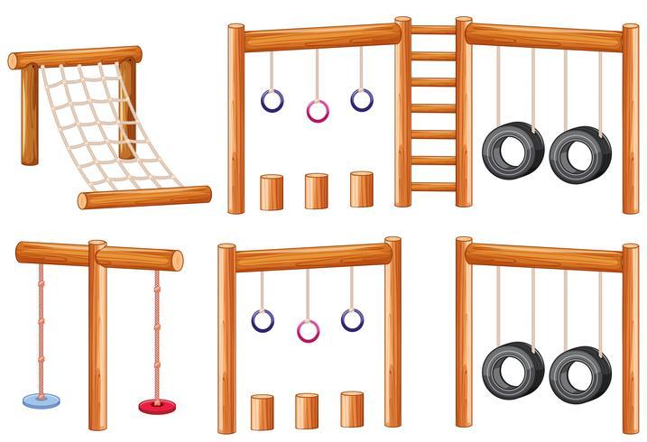 Conjunto de juegos infantiles de madera.