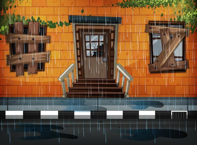 Prédio antigo e dia chuvoso