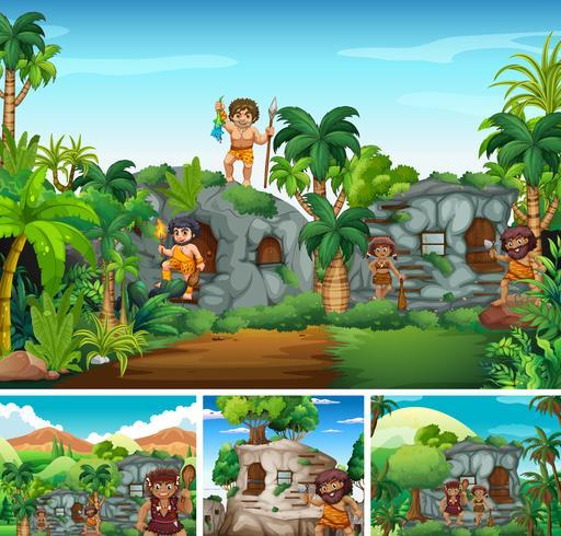 Cavemen living in stone house